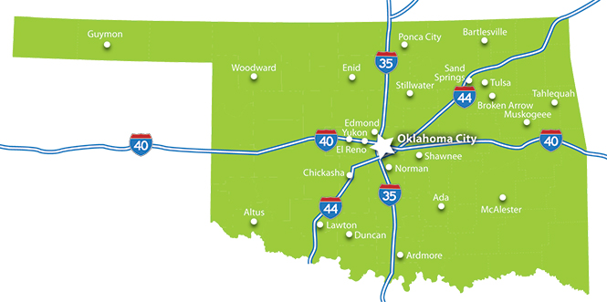 Greater Oklahoma City Economic Development State Map - Map of the state of oklahoma